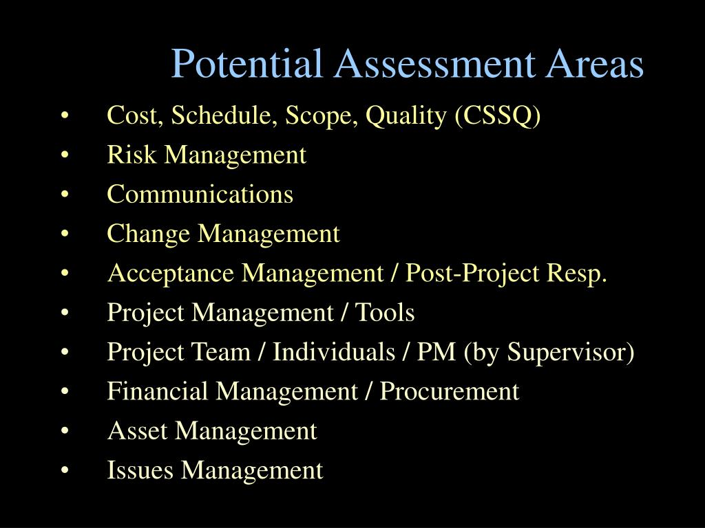 Potential Assessment Areas