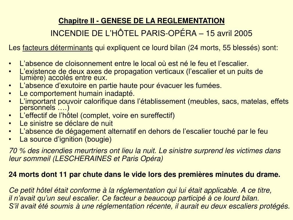 INCENDIE DE L'HÔTEL PARIS-OPÉRA – 15 avril 2005