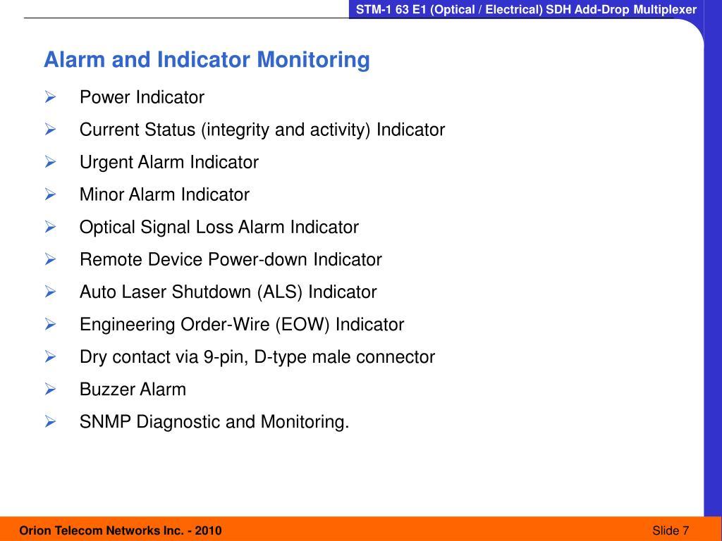 Alarm and Indicator Monitoring