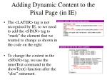 adding dynamic content to the pixal page in ie