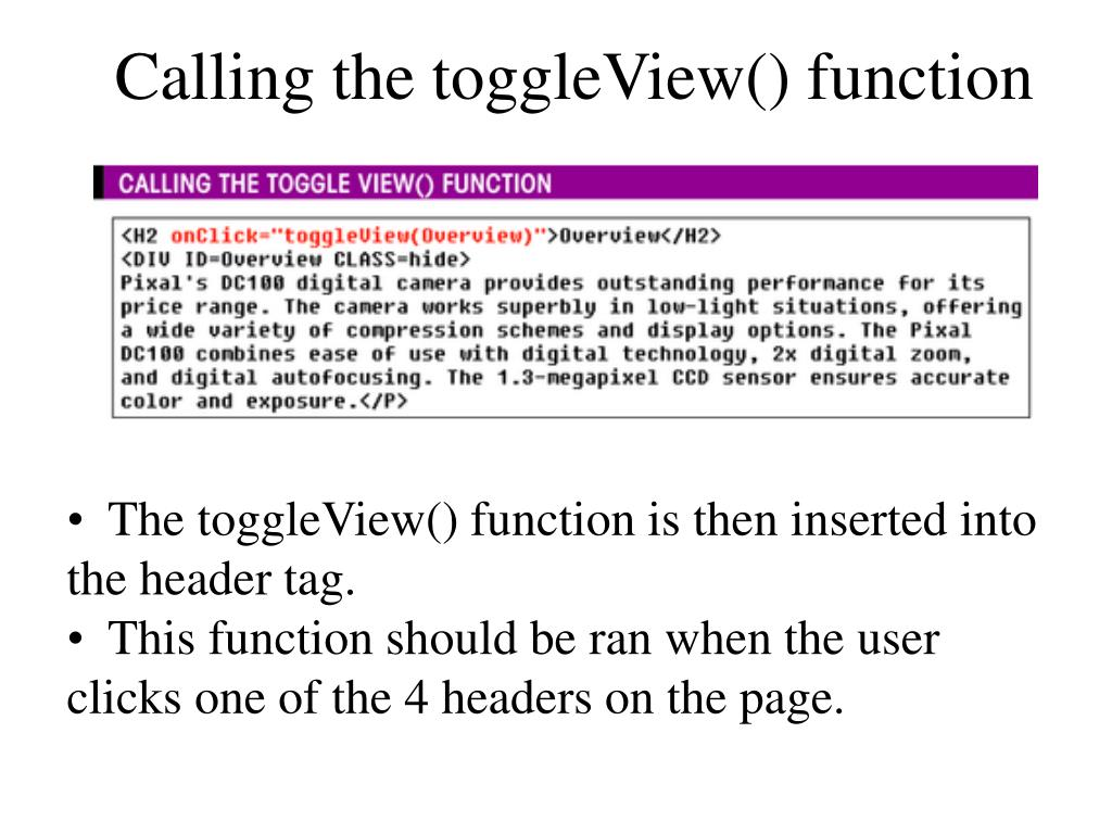 Calling the toggleView() function
