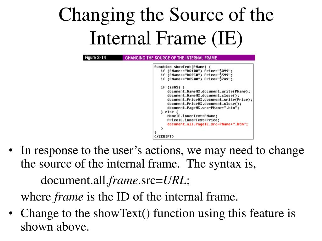 Changing the Source of the Internal Frame (IE)