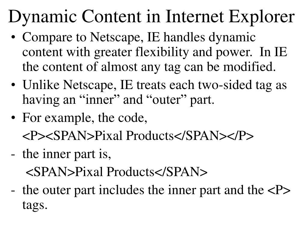 Dynamic Content in Internet Explorer