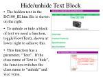 hide unhide text block