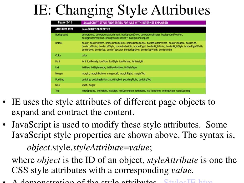 IE: Changing Style Attributes