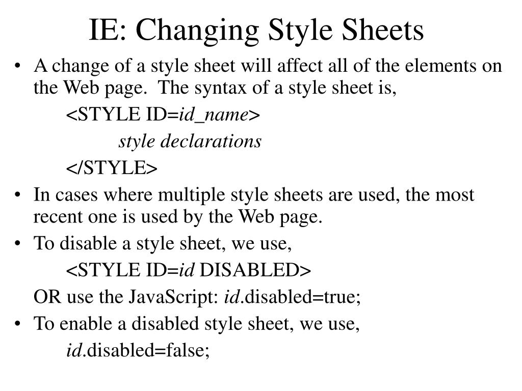 IE: Changing Style Sheets