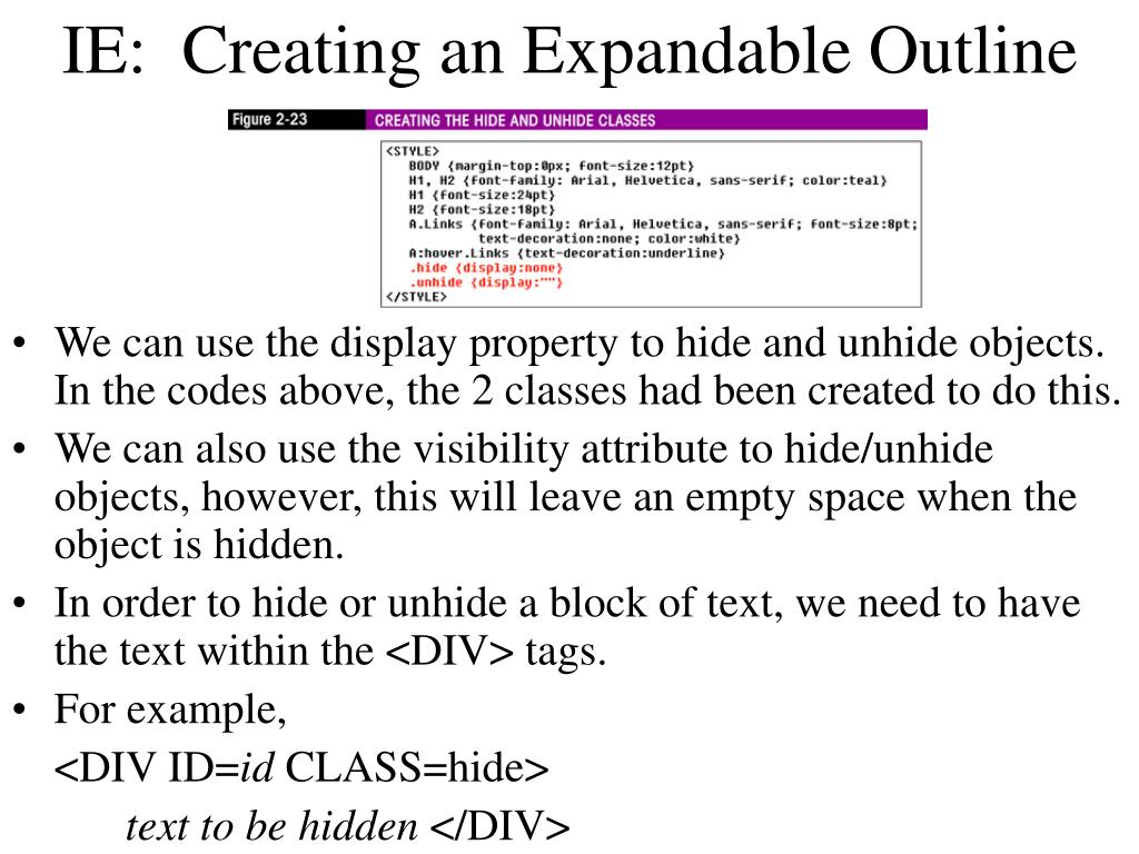 IE:  Creating an Expandable Outline