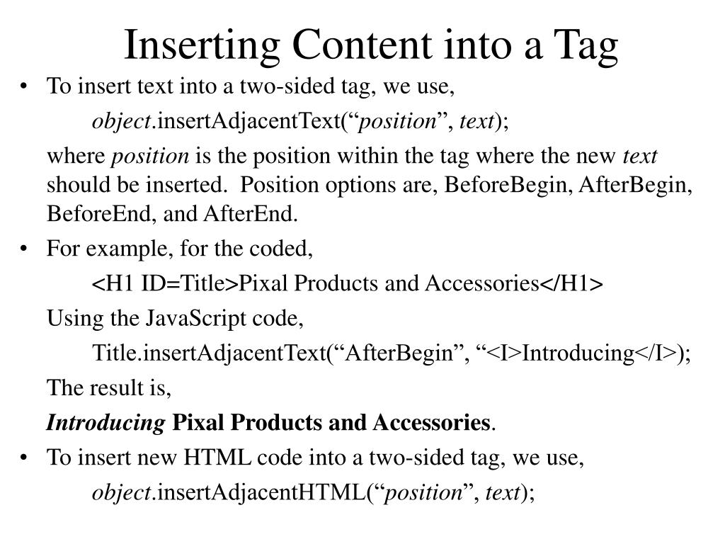 Inserting Content into a Tag