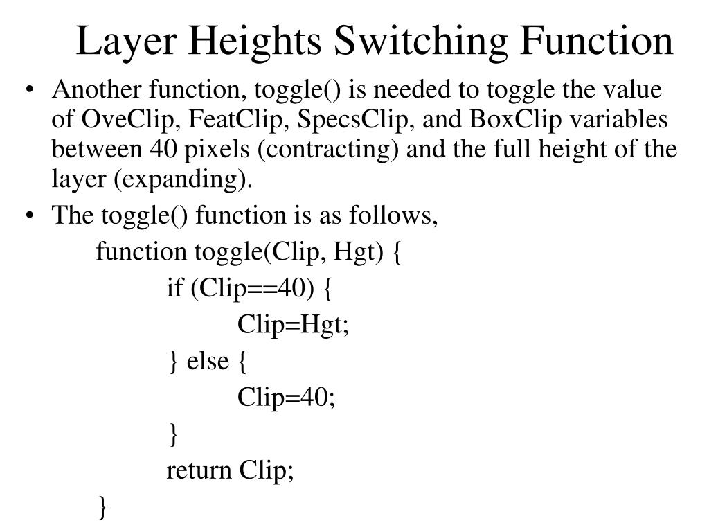 Layer Heights Switching Function