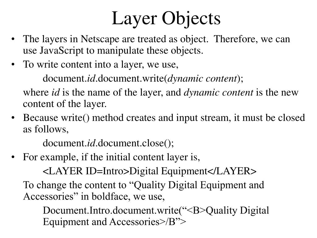 Layer Objects