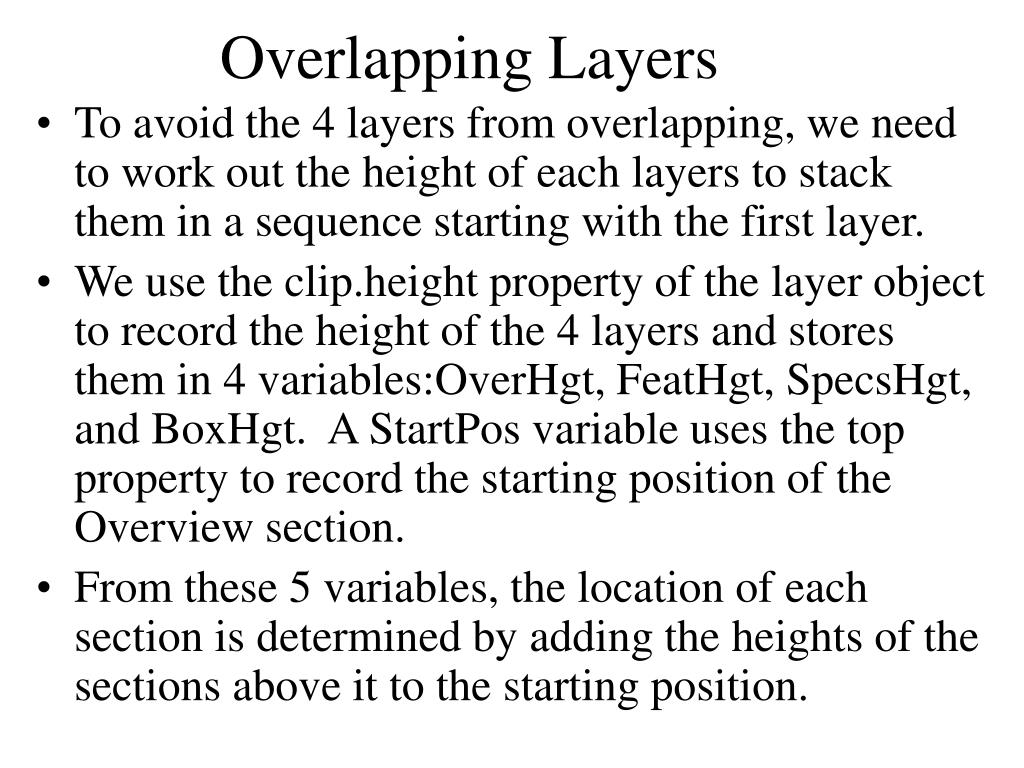Overlapping Layers