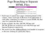 page branching to separate html files
