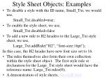 style sheet objects examples