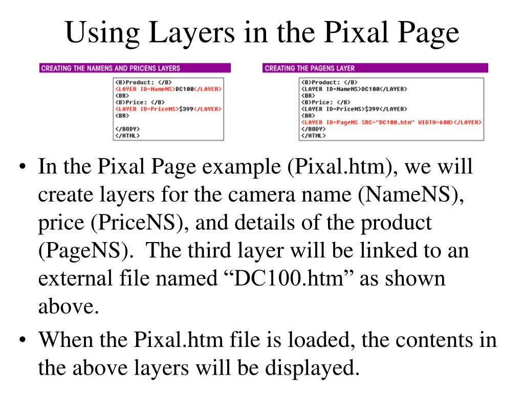 Using Layers in the Pixal Page