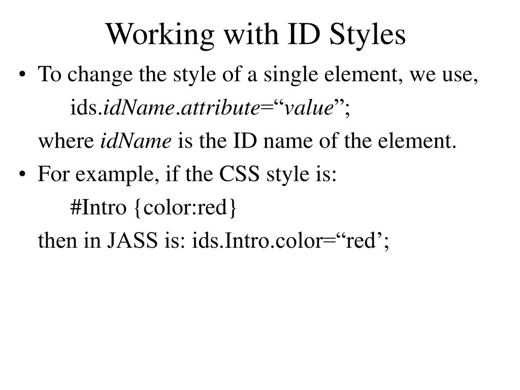 Working with ID Styles