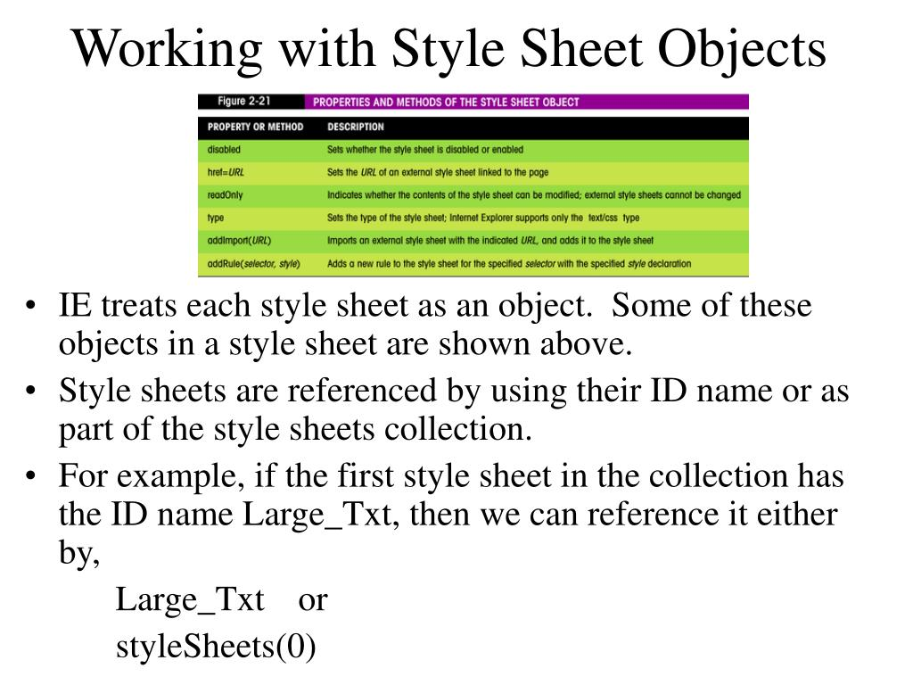 Working with Style Sheet Objects