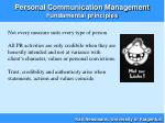personal communication management fundamental principles