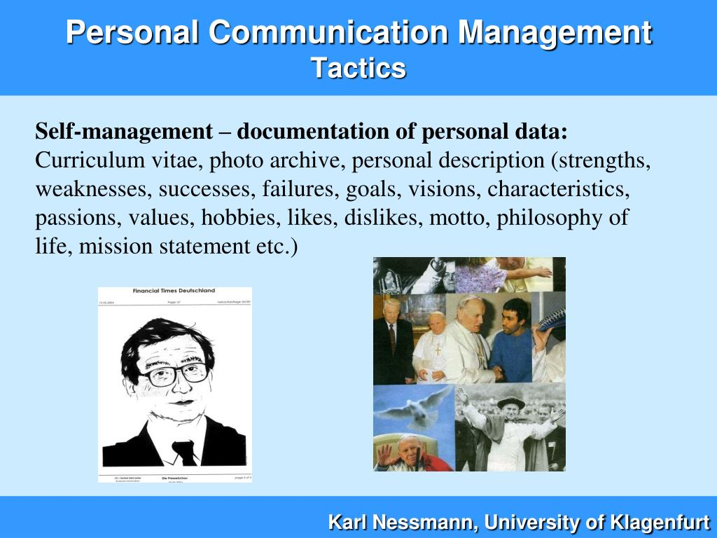 Self-management – documentation of personal data: