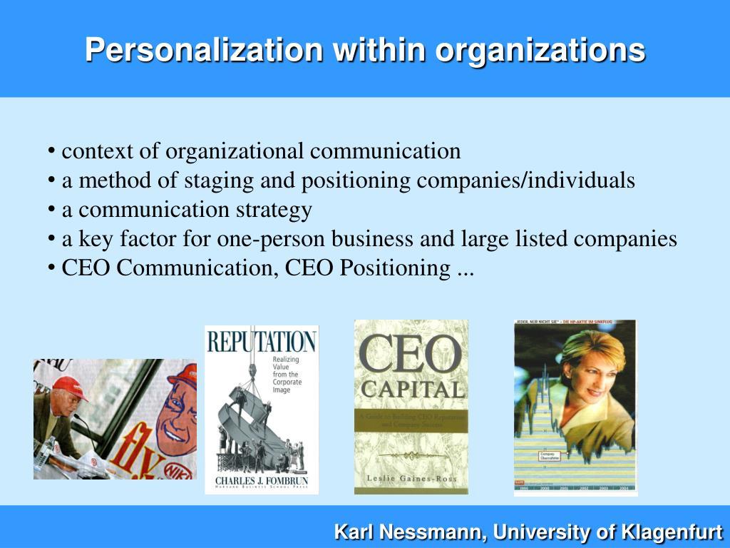 Personalization within organizations