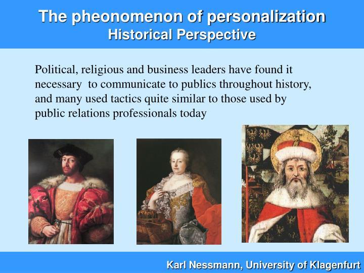 The pheonomenon of personalization historical perspective