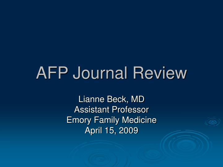 afp journal review n.