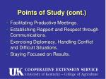 points of study cont