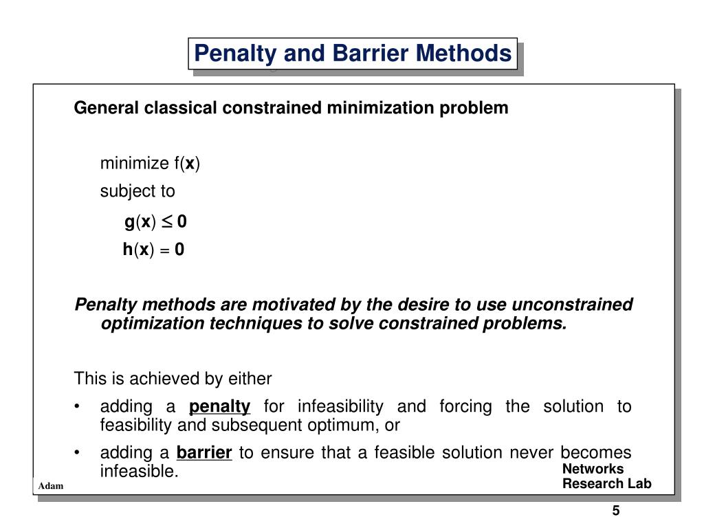 General classical constrained minimization problem