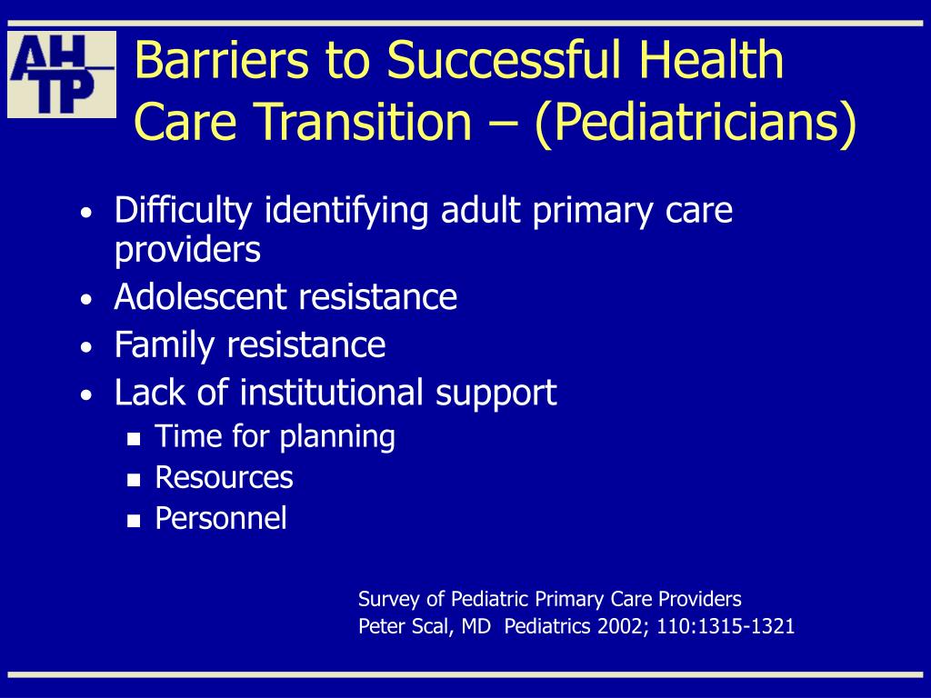 Barriers to Successful Health Care Transition – (Pediatricians)