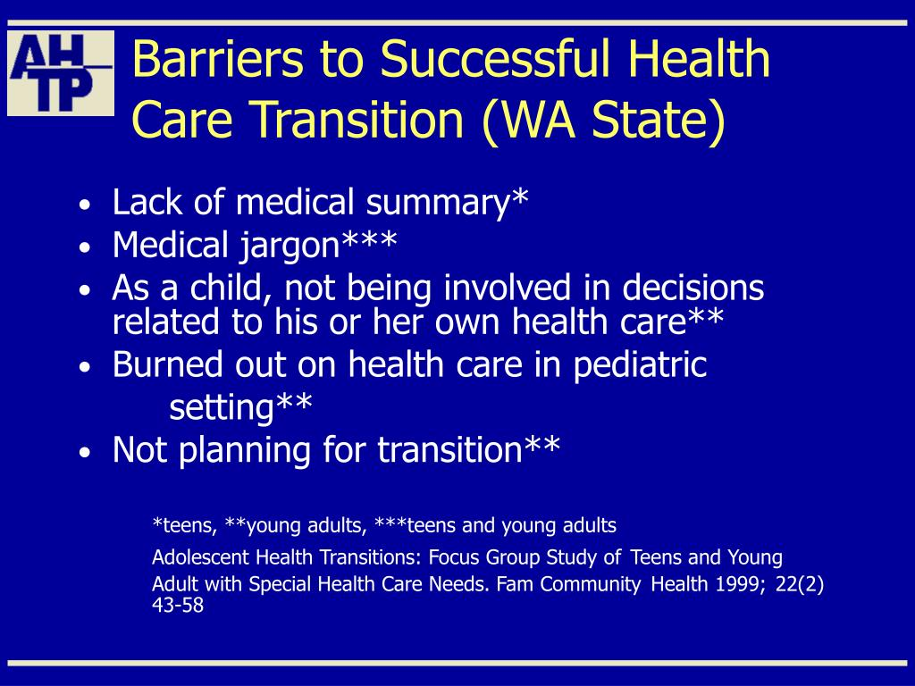 Barriers to Successful Health Care Transition (WA State)