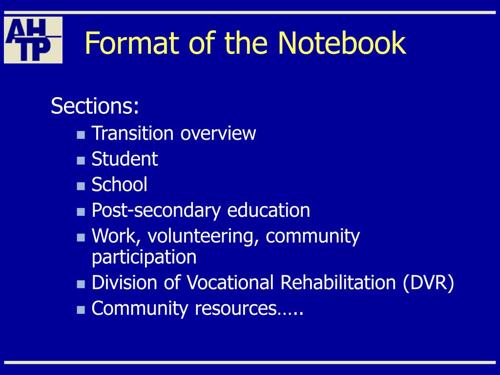 Format of the Notebook