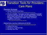 transition tools for providers care plans
