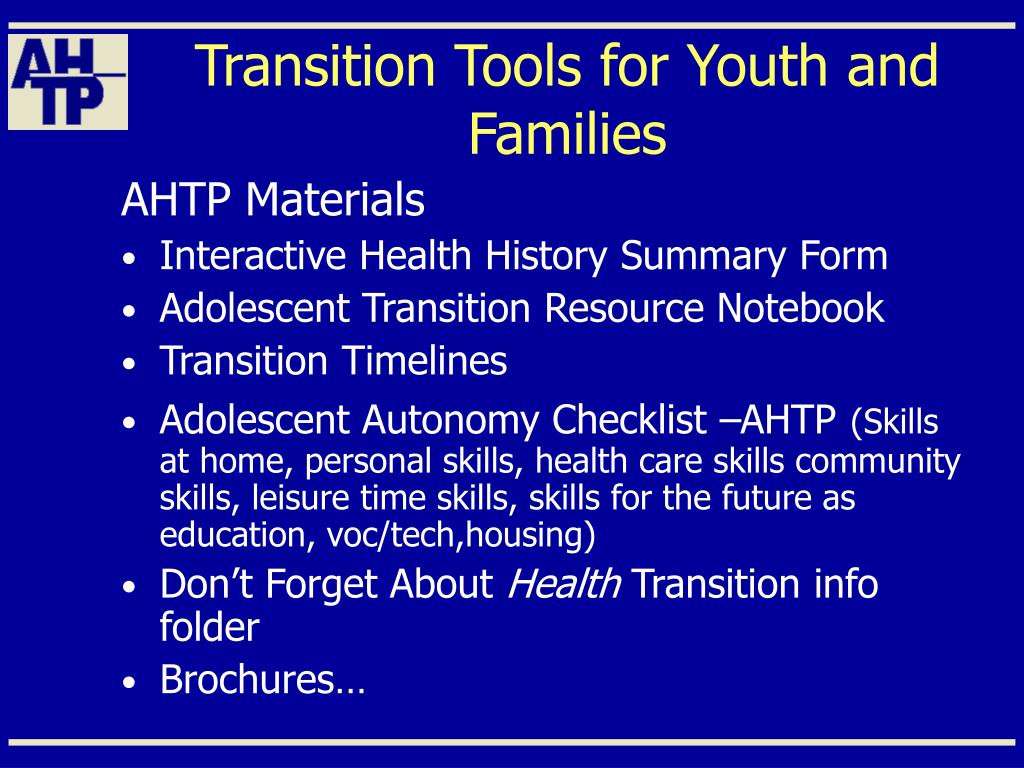 Transition Tools for Youth and Families