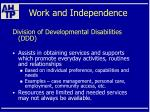 work and independence58