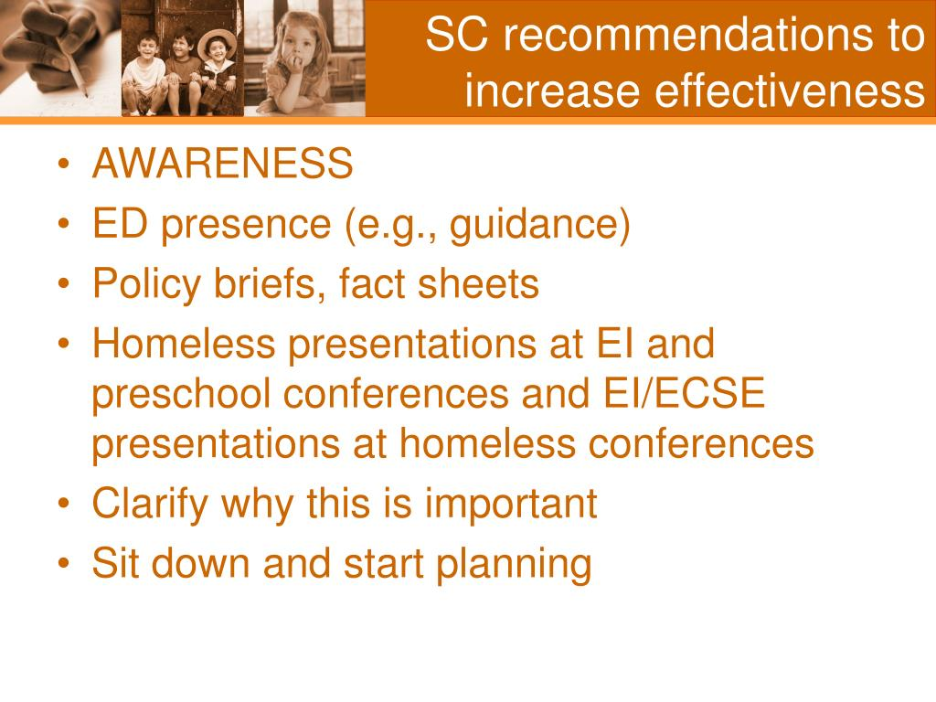 SC recommendations to increase effectiveness