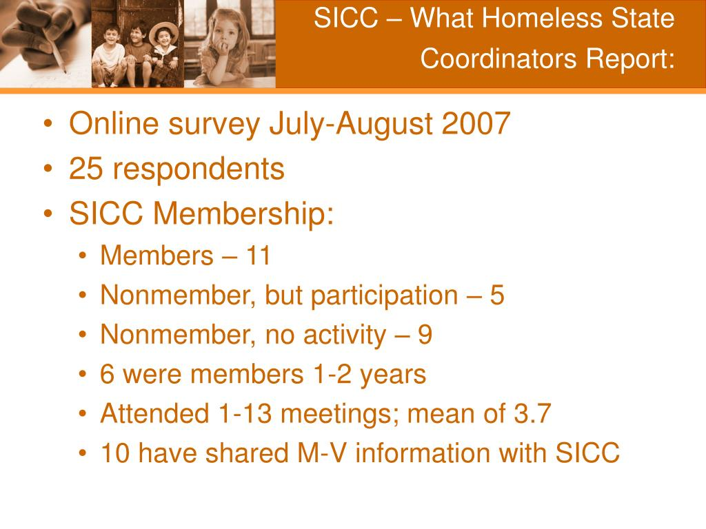 SICC – What Homeless State Coordinators Report: