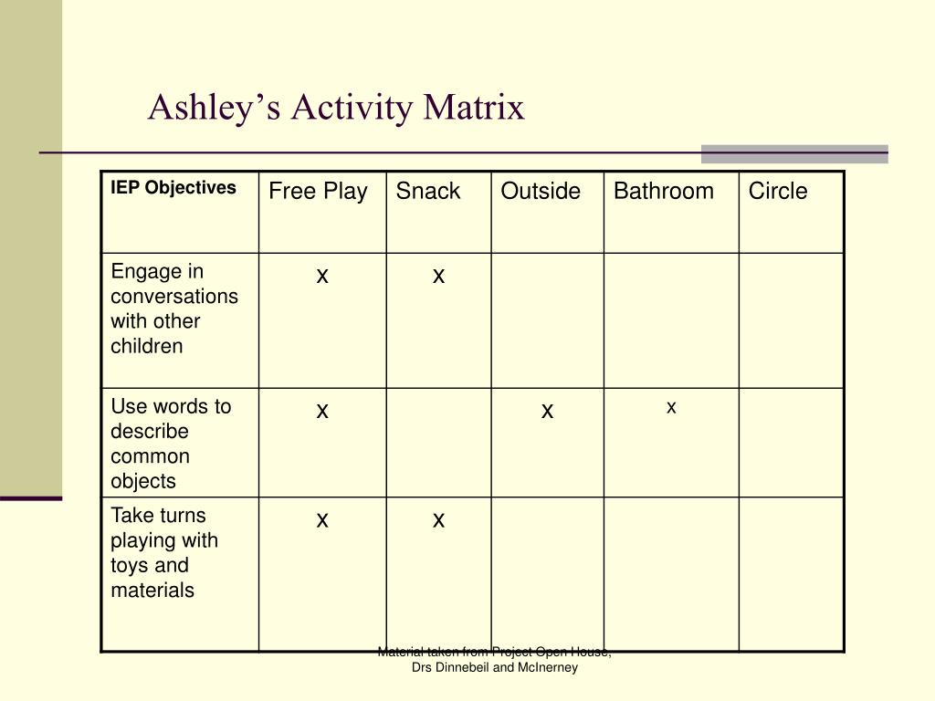 Ashley's Activity Matrix