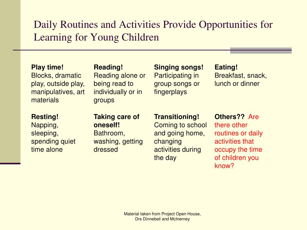 Daily Routines and Activities Provide Opportunities for Learning for Young Children