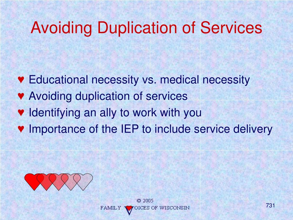 Avoiding Duplication of Services
