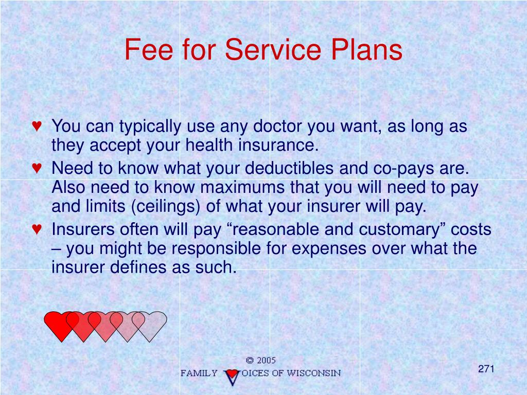 Fee for Service Plans