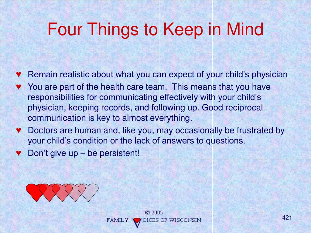 Four Things to Keep in Mind