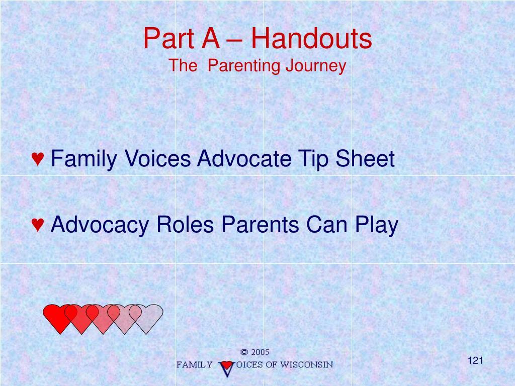 Part A – Handouts
