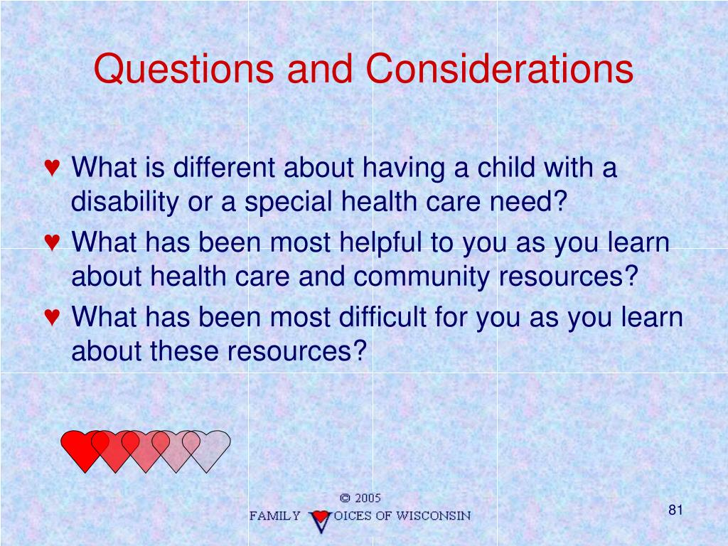 Questions and Considerations