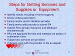 steps for getting services and supplies or equipment