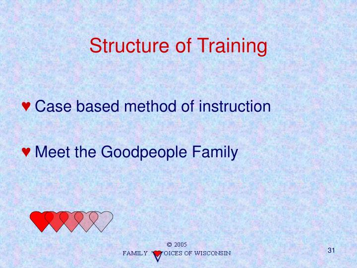 Structure of training
