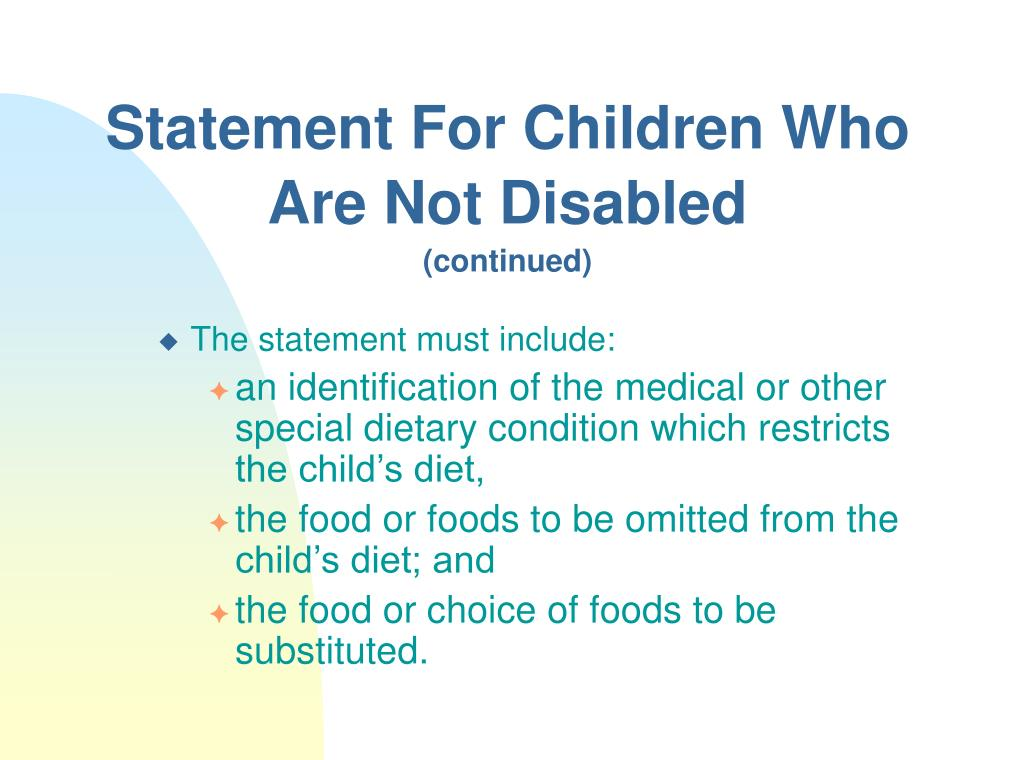 Statement For Children Who Are Not Disabled