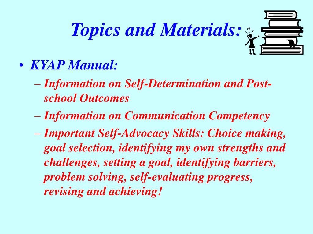 Topics and Materials: