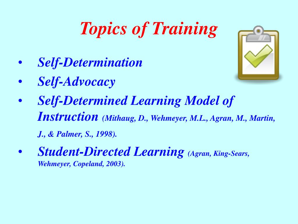 Topics of Training