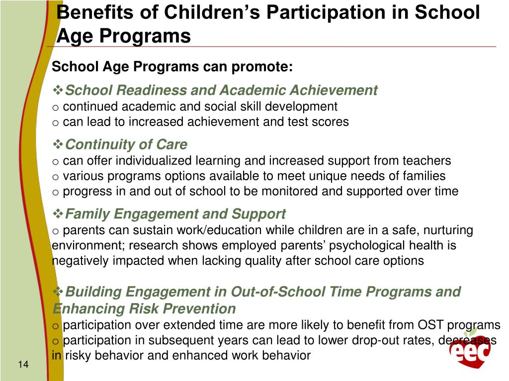 Benefits of Children's Participation in School Age Programs