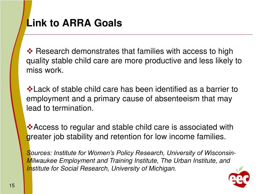 Link to ARRA Goals