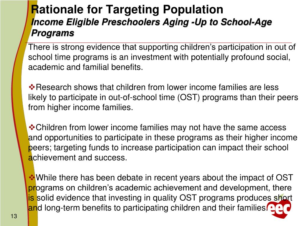 Rationale for Targeting Population